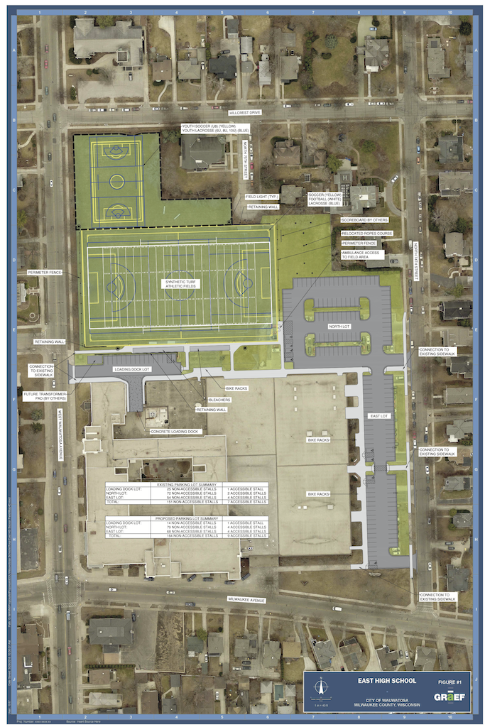 Wauwatosa School Board unanimously approves replacement of activity field, with lights, at East High School