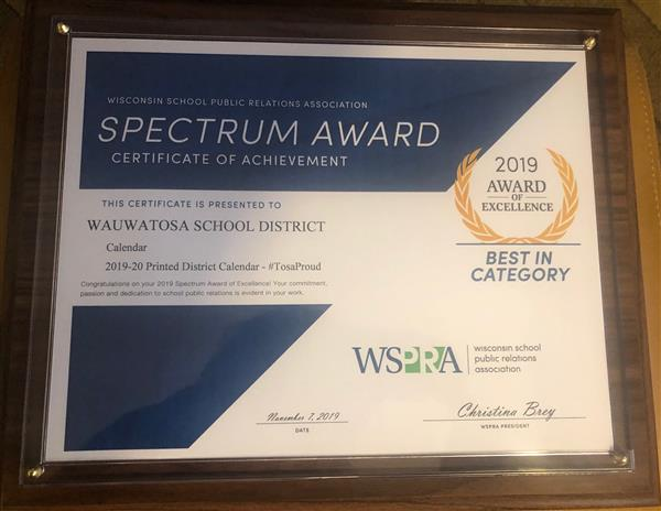 District wins Award of Excellence from Wisconsin School Public Relations Association