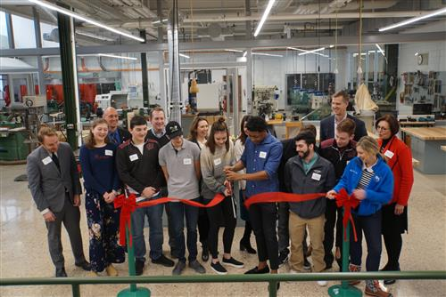 students cut ribbon for new Center for Design and Innovation